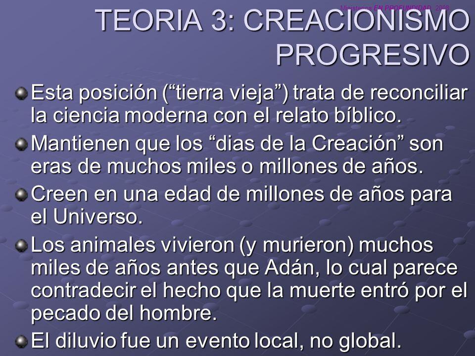 TEORIA 3: CREACIONISMO PROGRESIVO