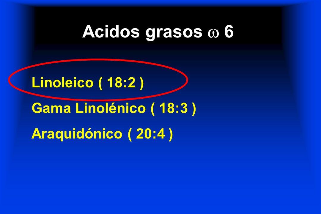 Acidos grasos  6 Linoleico ( 18:2 ) Gama Linolénico ( 18:3 )