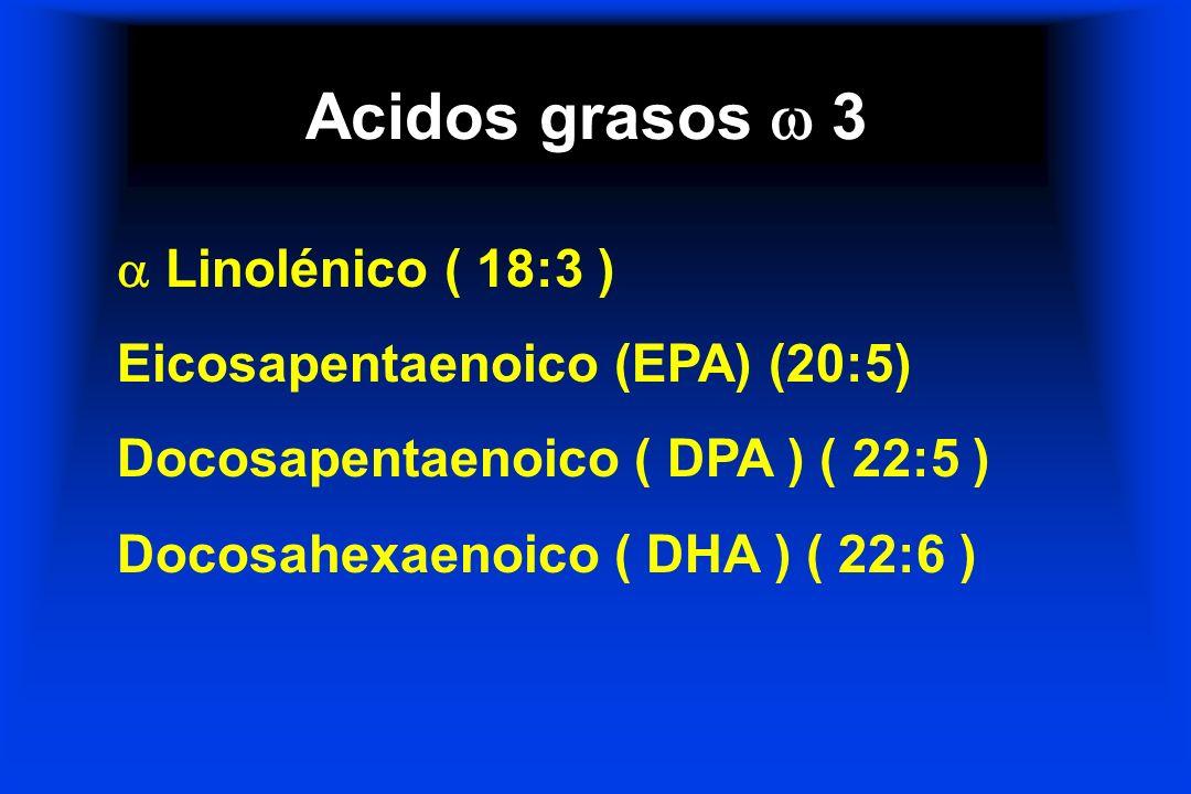 Acidos grasos  3  Linolénico ( 18:3 ) Eicosapentaenoico (EPA) (20:5)