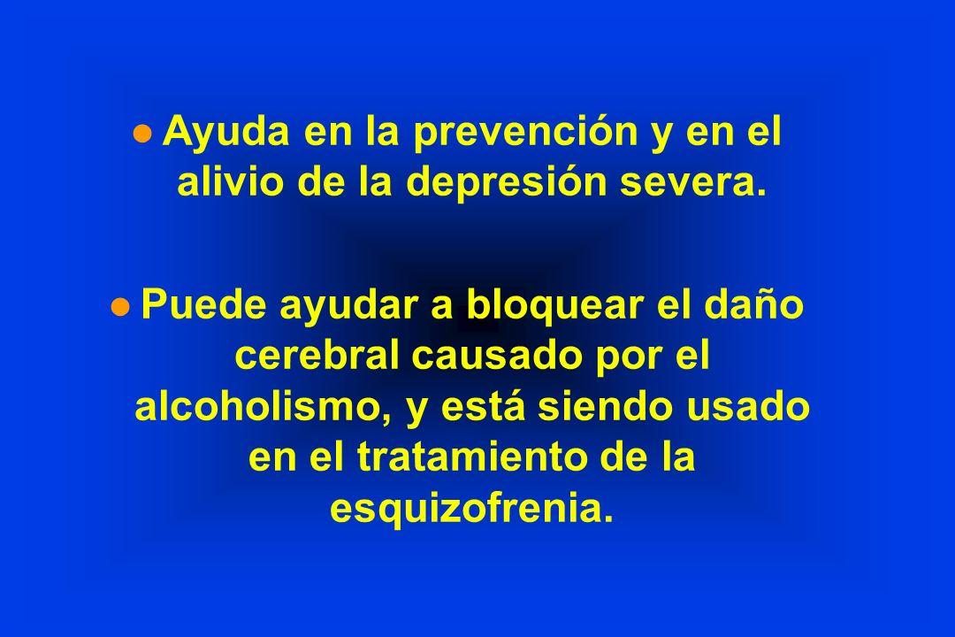 Ayuda en la prevención y en el alivio de la depresión severa.