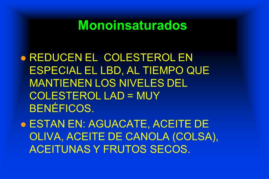 Monoinsaturados REDUCEN EL COLESTEROL EN ESPECIAL EL LBD, AL TIEMPO QUE MANTIENEN LOS NIVELES DEL COLESTEROL LAD = MUY BENÉFICOS.