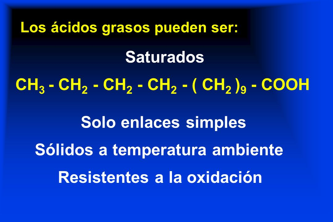 Los ácidos grasos pueden ser: