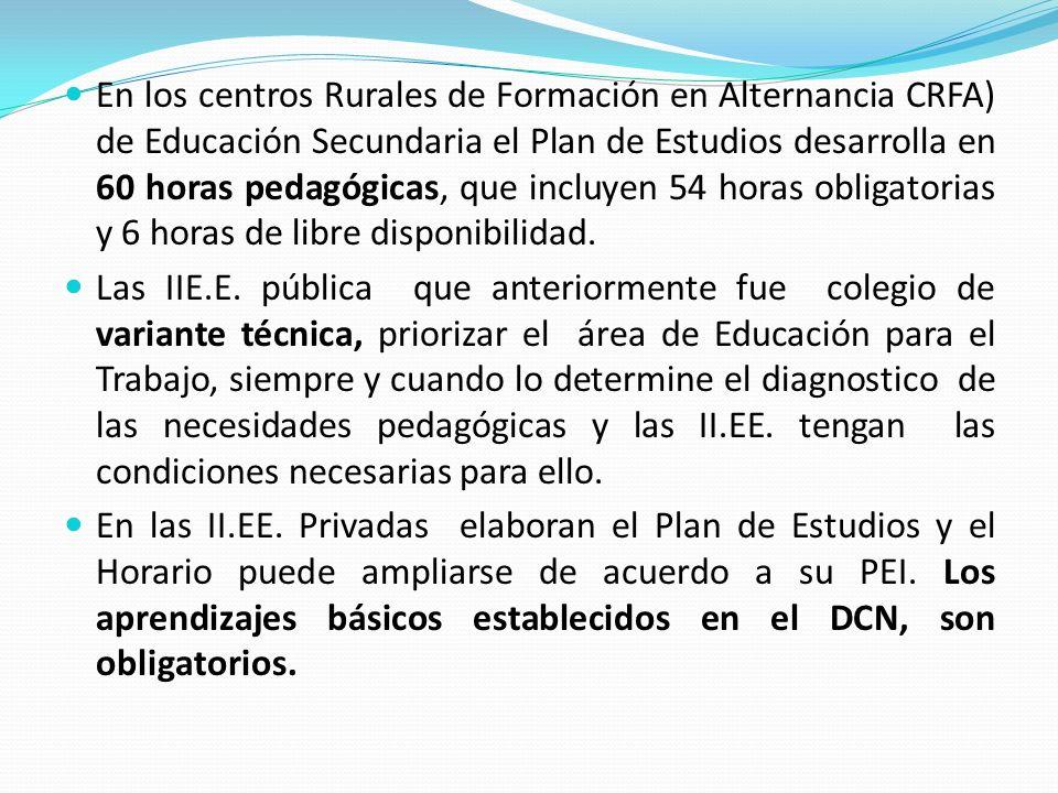 En los centros Rurales de Formación en Alternancia CRFA) de Educación Secundaria el Plan de Estudios desarrolla en 60 horas pedagógicas, que incluyen 54 horas obligatorias y 6 horas de libre disponibilidad.