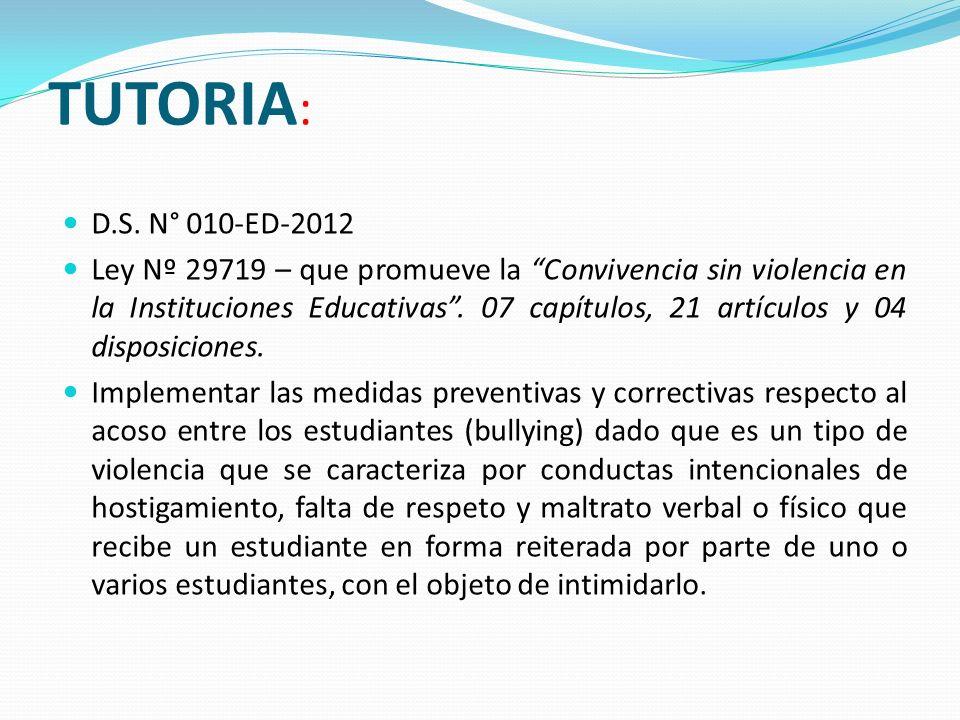 TUTORIA:D.S. N° 010-ED-2012.