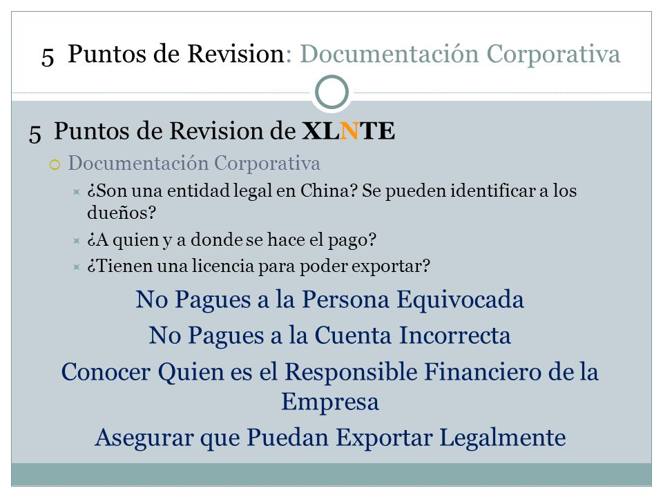 5 Puntos de Revision: Documentación Corporativa