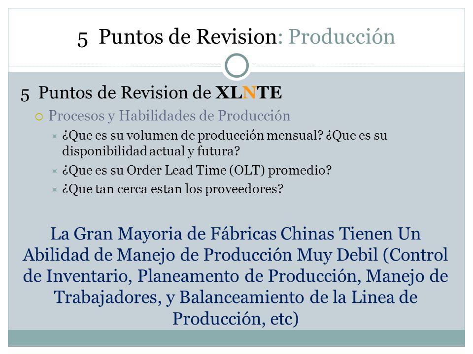 5 Puntos de Revision: Producción