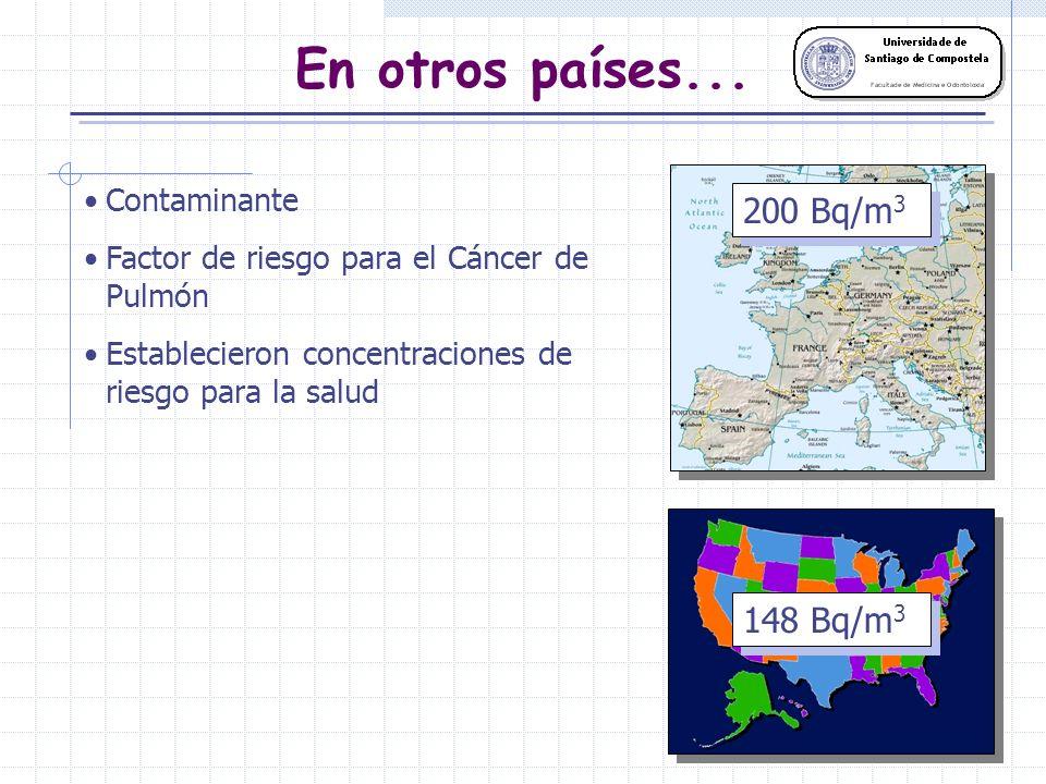 En otros países... 200 Bq/m3 148 Bq/m3 Contaminante