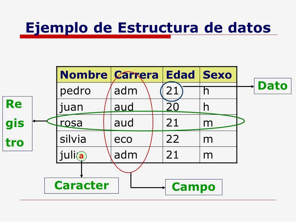 Ejemplo de Estructura de datos