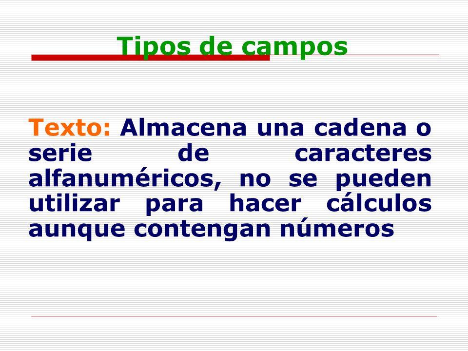 Tipos de camposTexto: Almacena una cadena o serie de caracteres alfanuméricos, no se pueden utilizar para hacer cálculos aunque contengan números.