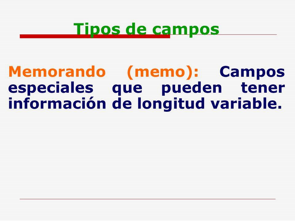 Tipos de campos Memorando (memo): Campos especiales que pueden tener información de longitud variable.