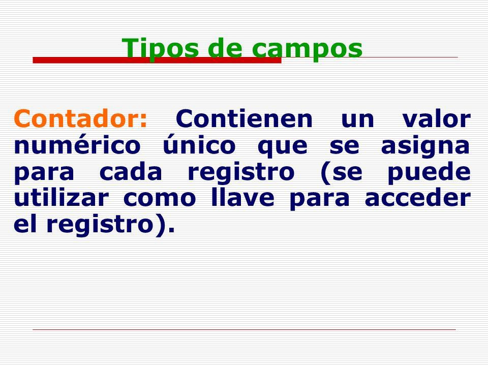 Tipos de camposContador: Contienen un valor numérico único que se asigna para cada registro (se puede utilizar como llave para acceder el registro).