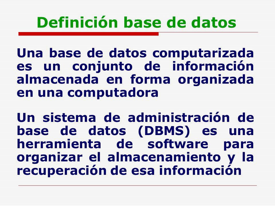 Definición base de datos