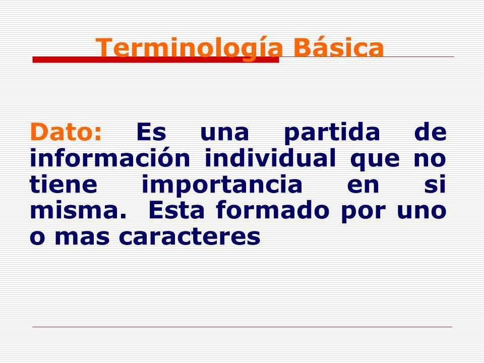 Terminología Básica Dato: Es una partida de información individual que no tiene importancia en si misma.