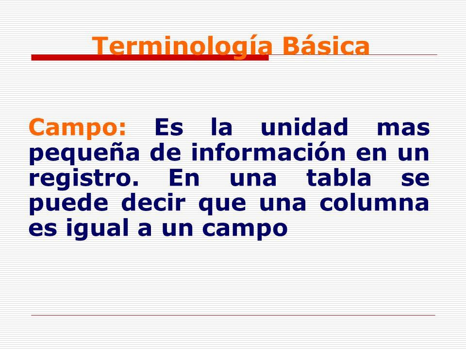 Terminología BásicaCampo: Es la unidad mas pequeña de información en un registro.