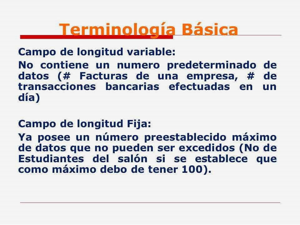 Terminología Básica Campo de longitud variable:
