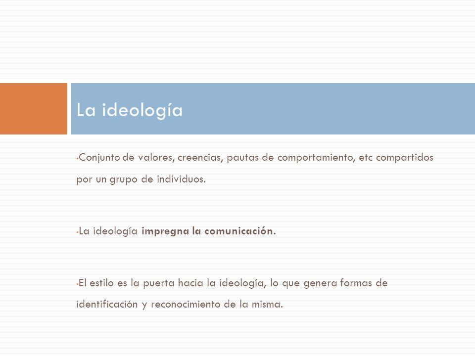 La ideología Conjunto de valores, creencias, pautas de comportamiento, etc compartidos por un grupo de individuos.