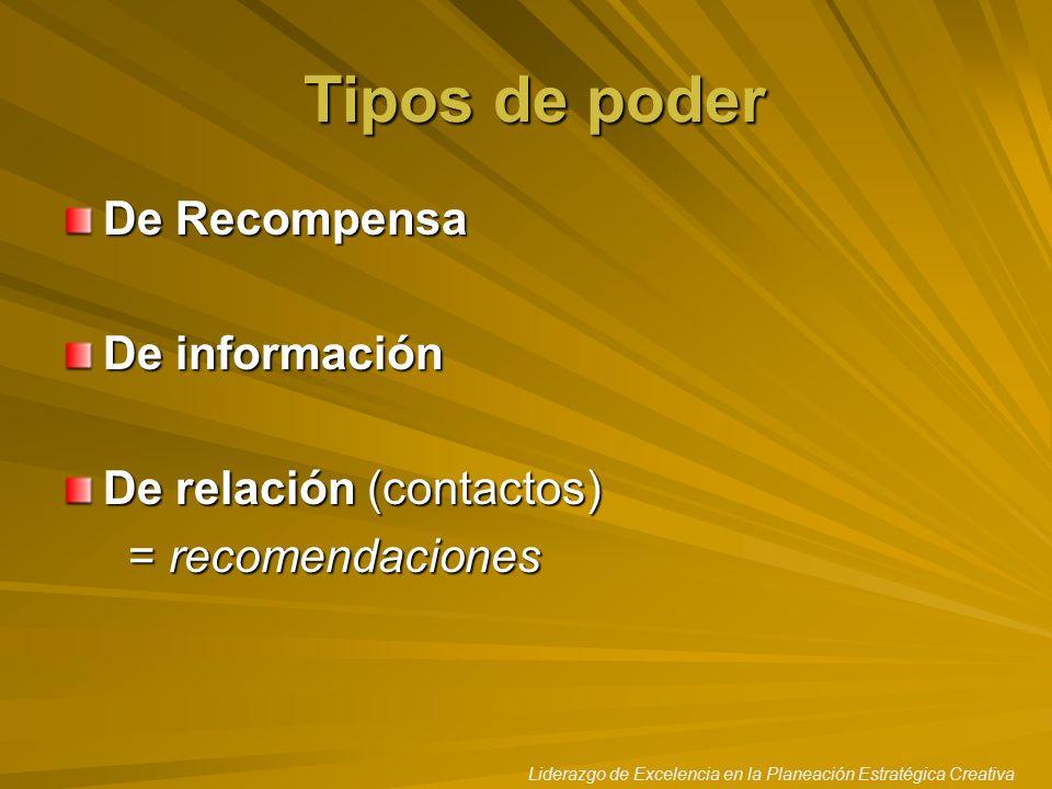Tipos de poder De Recompensa De información De relación (contactos)