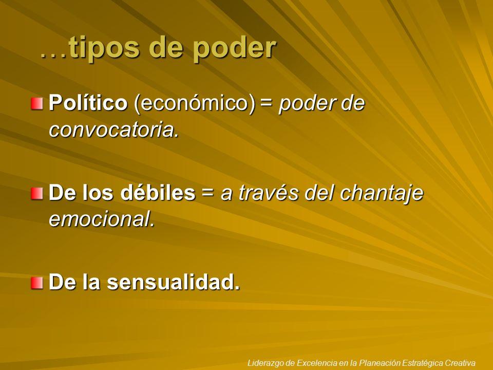 …tipos de poder Político (económico) = poder de convocatoria.