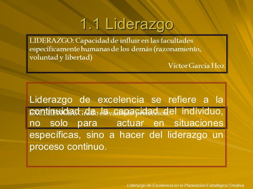1.1 Liderazgo LIDERAZGO: Capacidad de influir en las facultades específicamente humanas de los demás (razonamiento, voluntad y libertad)