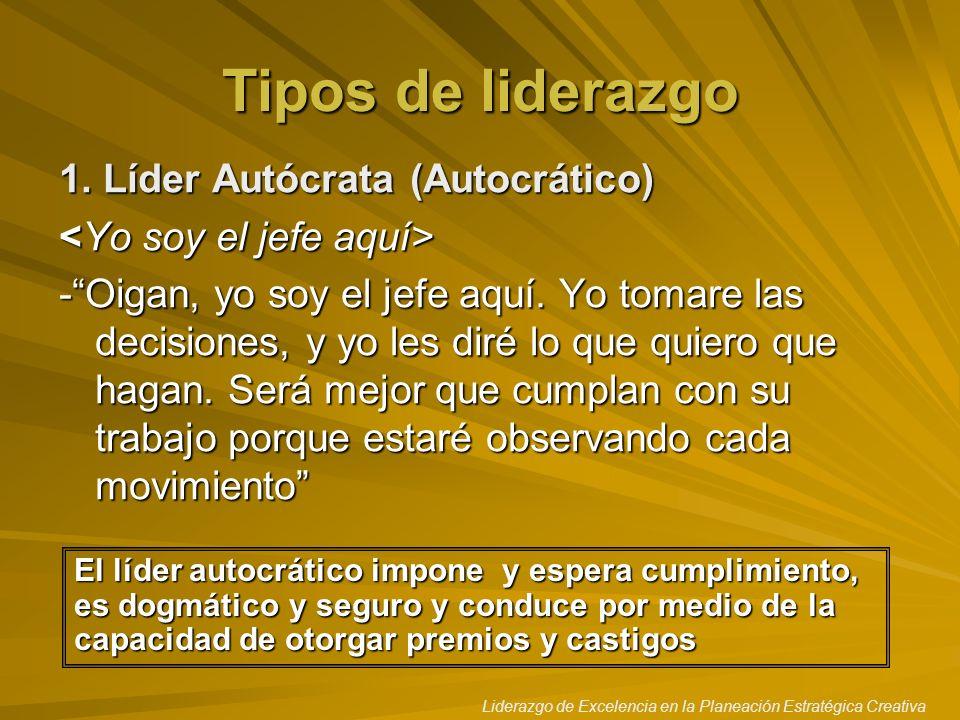 Tipos de liderazgo 1. Líder Autócrata (Autocrático)
