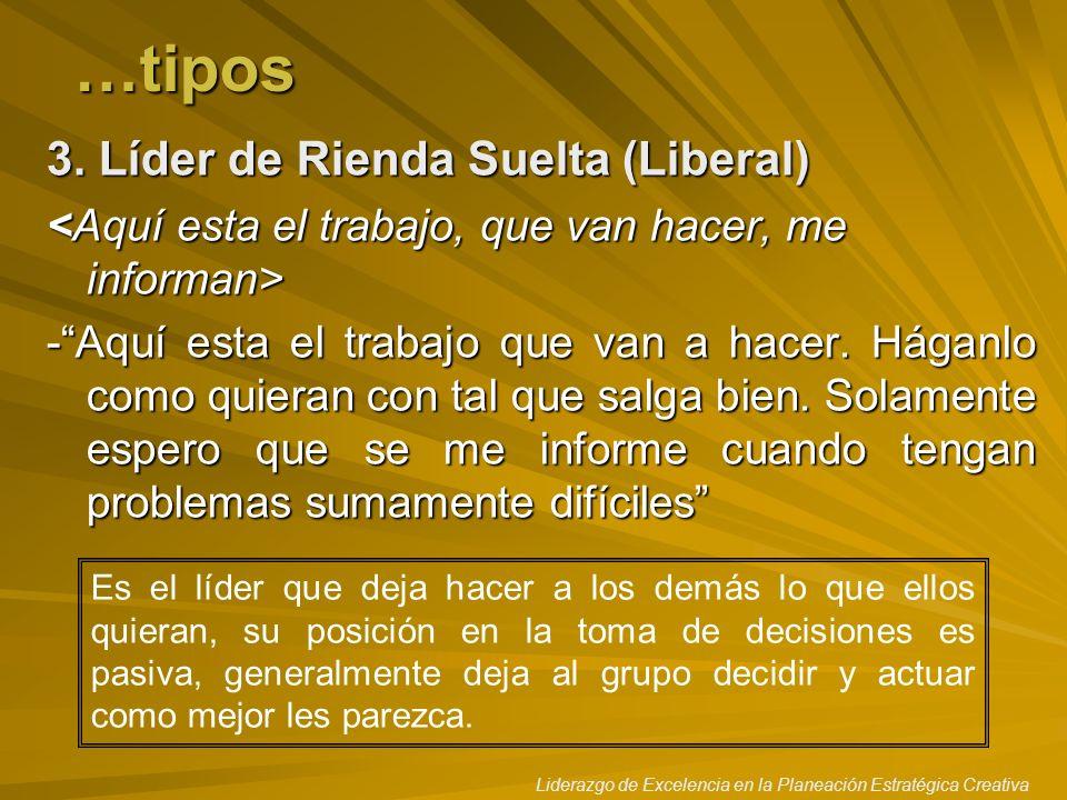 …tipos 3. Líder de Rienda Suelta (Liberal)