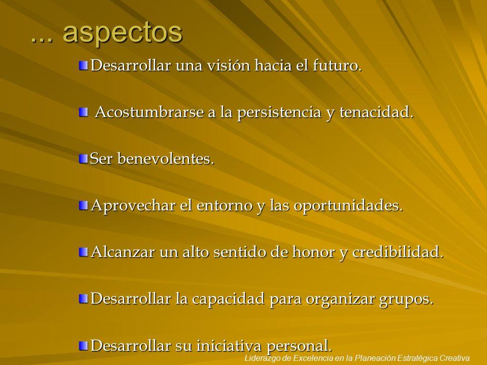 ... aspectos Desarrollar una visión hacia el futuro.