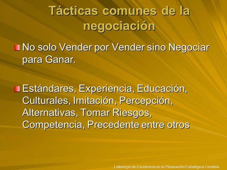 Tácticas comunes de la negociación
