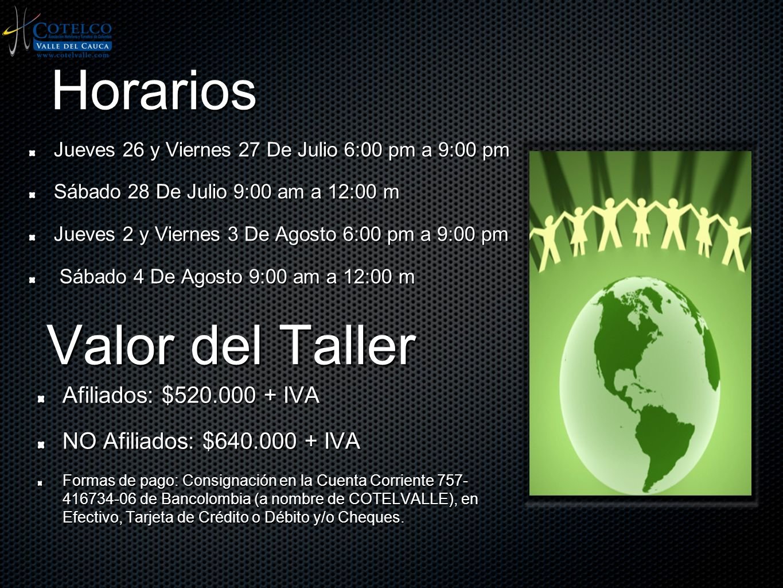 Horarios Valor del Taller Afiliados: $520.000 + IVA