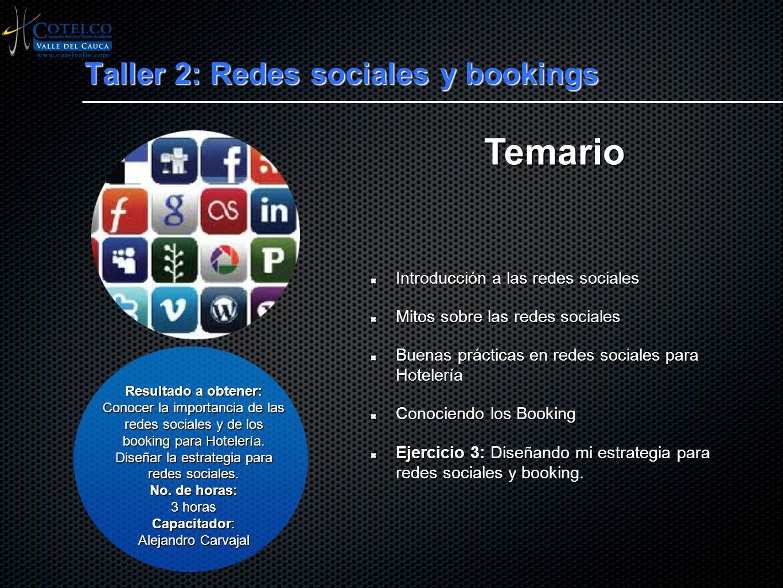 Taller 2: Redes sociales y bookings