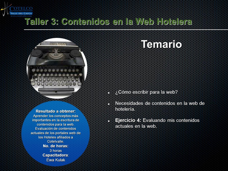 Taller 3: Contenidos en la Web Hotelera