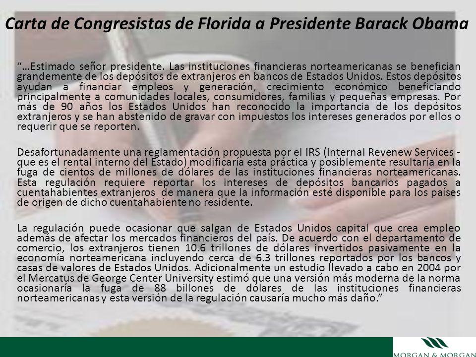 Carta de Congresistas de Florida a Presidente Barack Obama