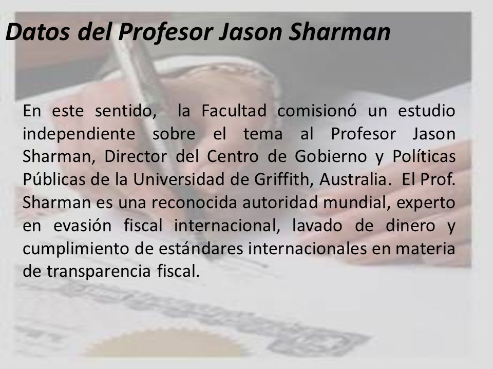 Datos del Profesor Jason Sharman