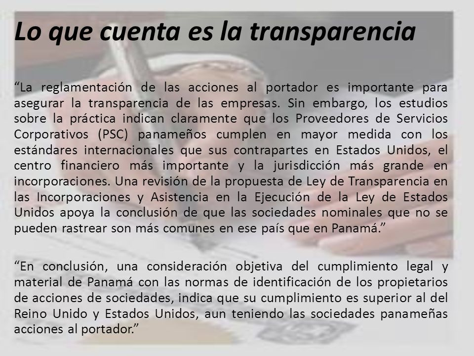 Lo que cuenta es la transparencia