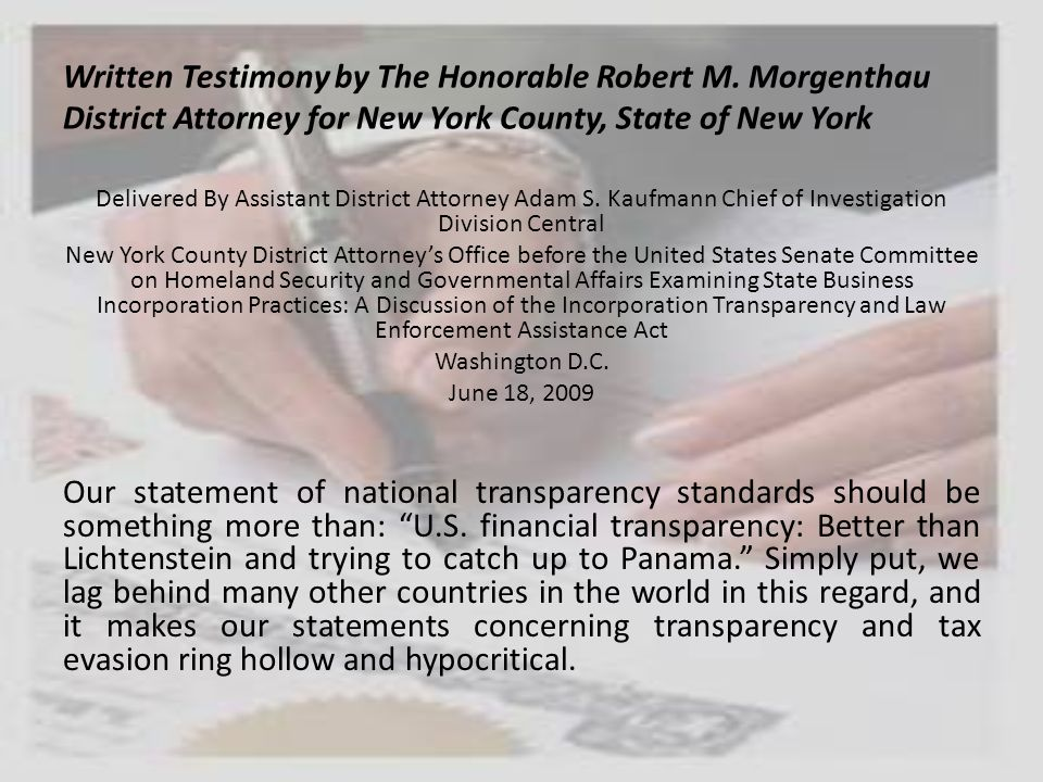 Written Testimony by The Honorable Robert M