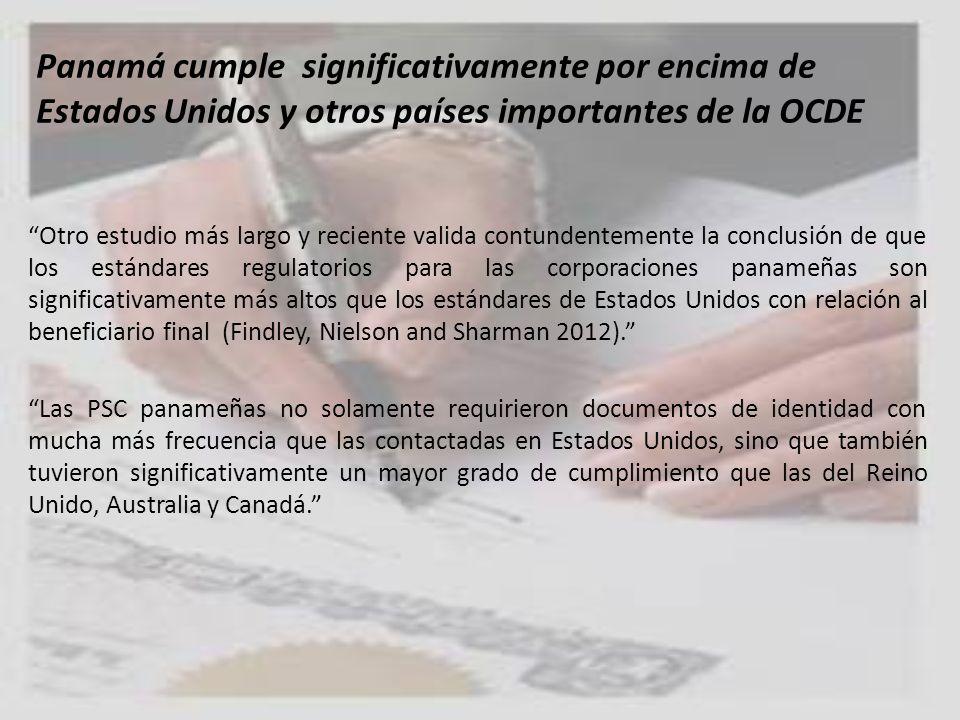 Panamá cumple significativamente por encima de Estados Unidos y otros países importantes de la OCDE
