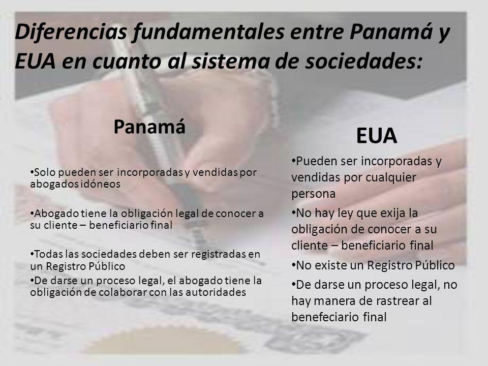 Diferencias fundamentales entre Panamá y EUA en cuanto al sistema de sociedades: