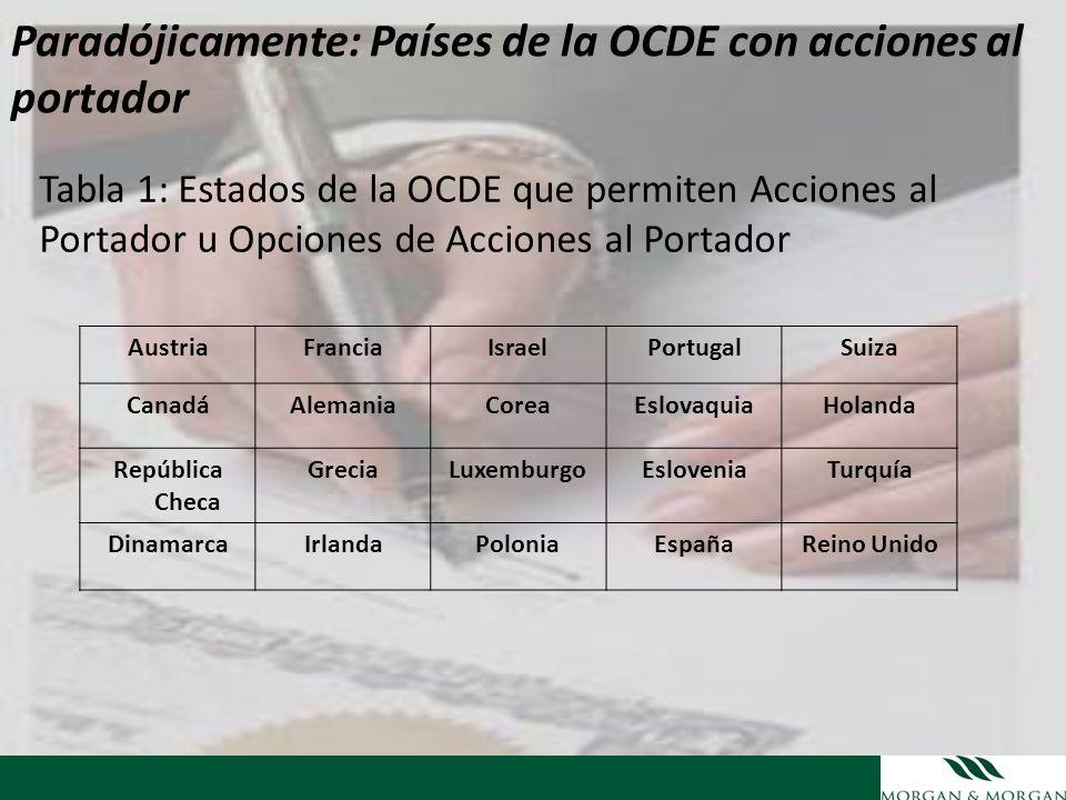Paradójicamente: Países de la OCDE con acciones al portador
