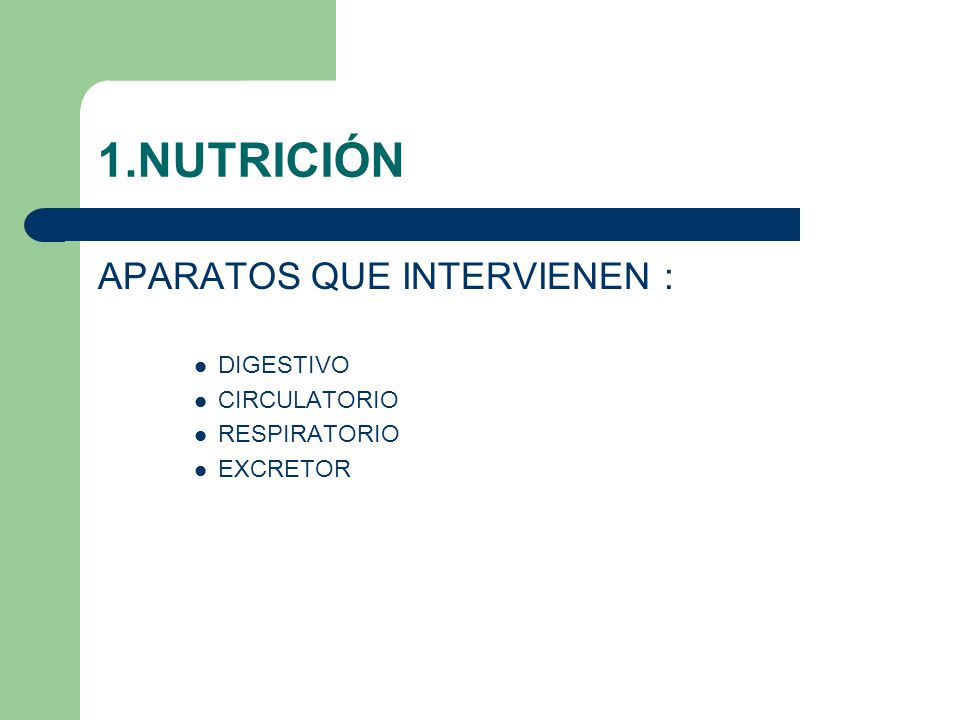 1.NUTRICIÓN APARATOS QUE INTERVIENEN : DIGESTIVO CIRCULATORIO