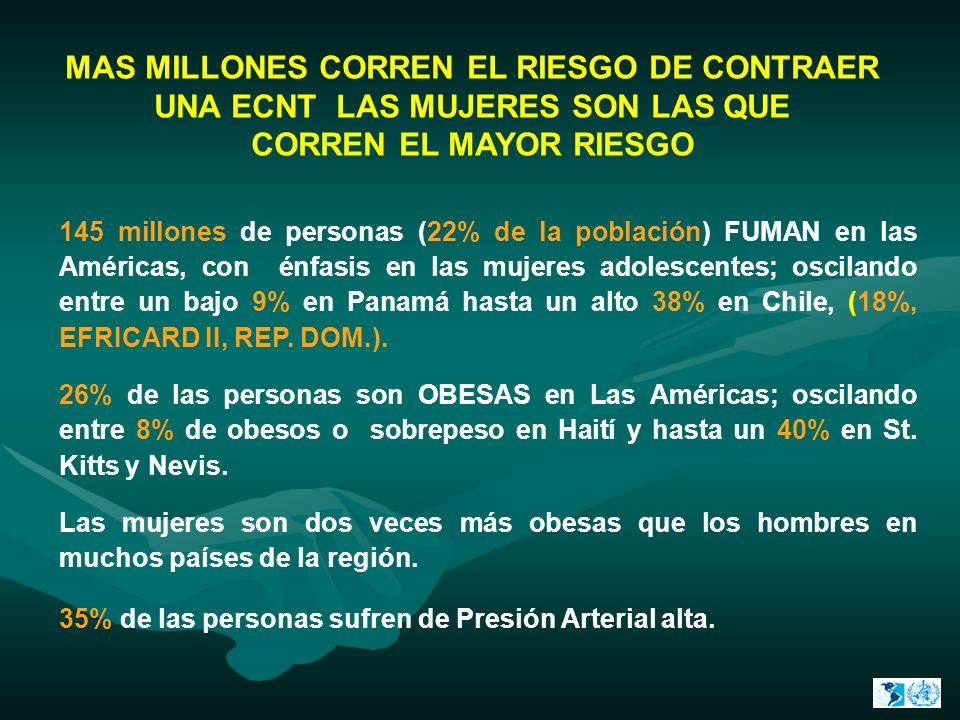 MAS MILLONES CORREN EL RIESGO DE CONTRAER UNA ECNT LAS MUJERES SON LAS QUE