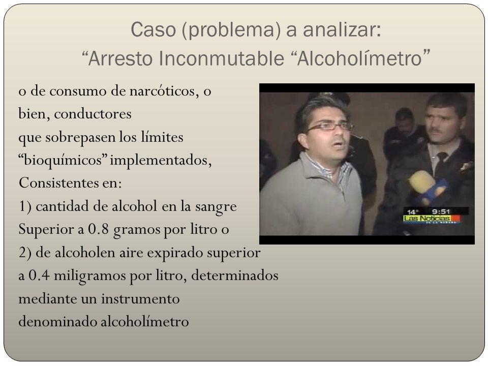 Caso (problema) a analizar: Arresto Inconmutable Alcoholímetro