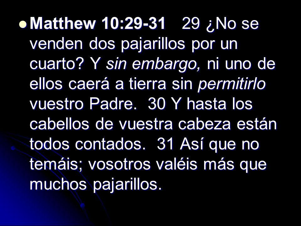 Matthew 10:29-31 29 ¿No se venden dos pajarillos por un cuarto