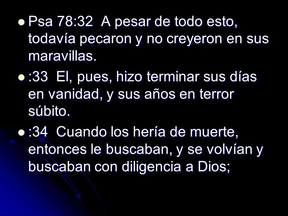 Psa 78:32 A pesar de todo esto, todavía pecaron y no creyeron en sus maravillas.