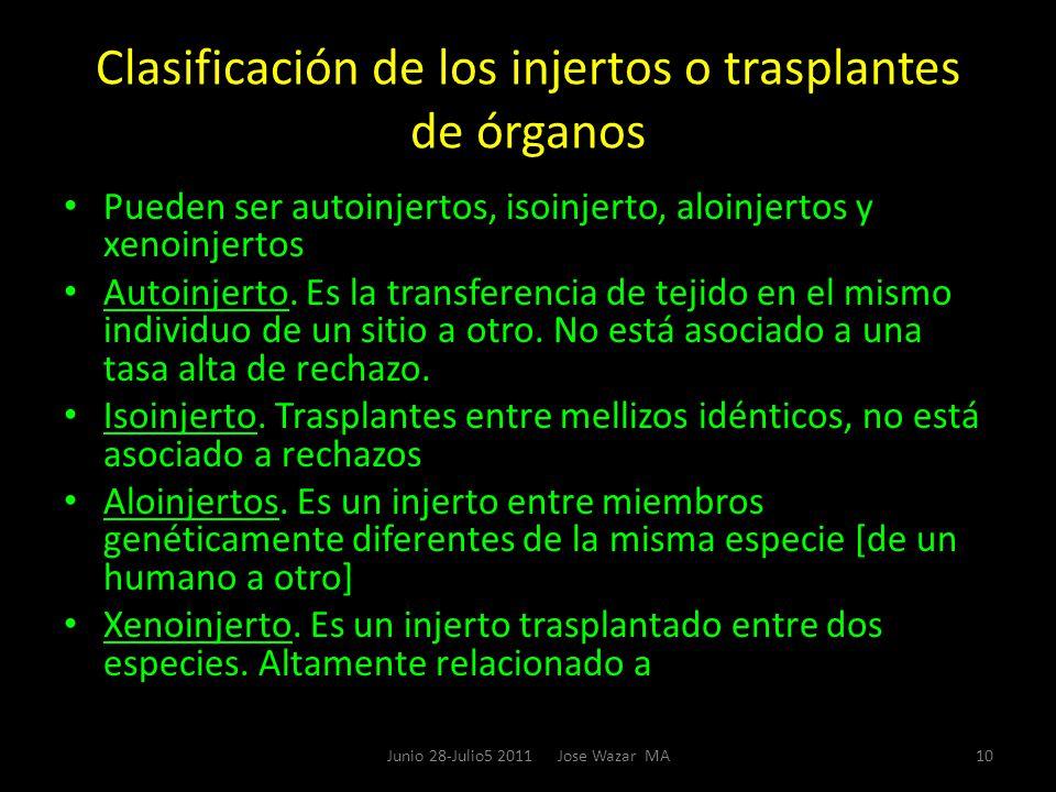 Clasificación de los injertos o trasplantes de órganos