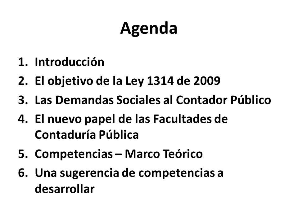 Agenda Introducción El objetivo de la Ley 1314 de 2009