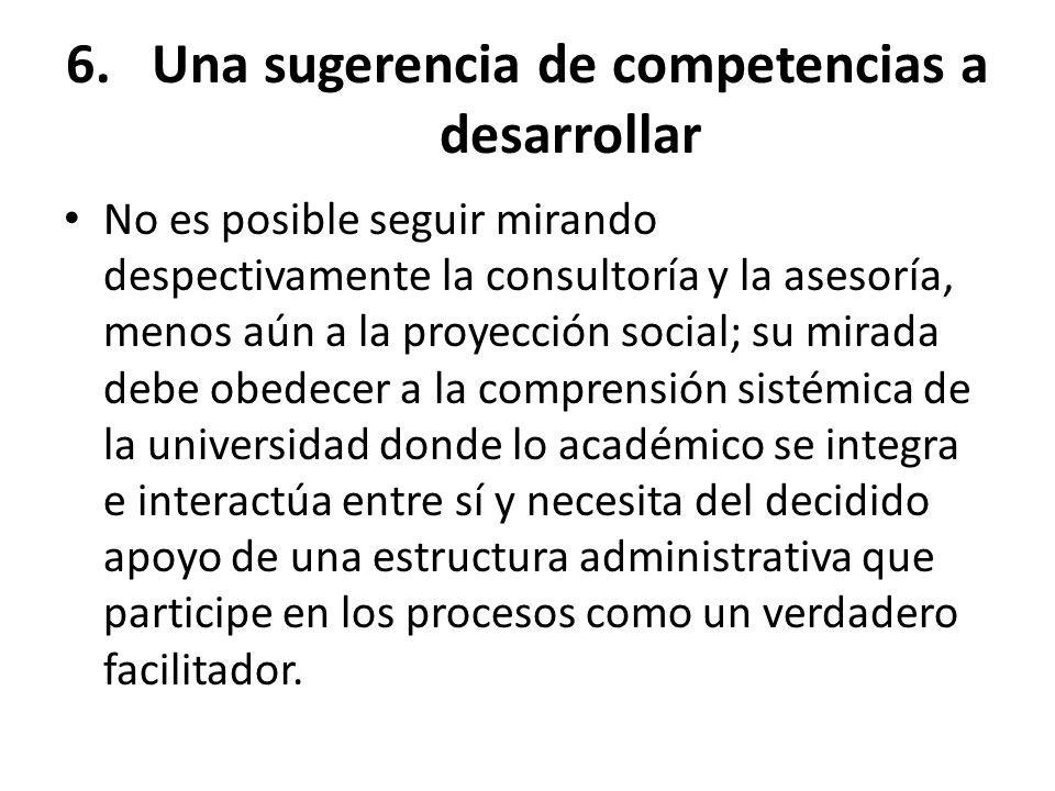 Una sugerencia de competencias a desarrollar