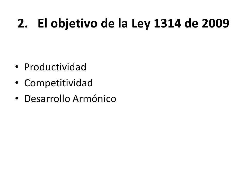 El objetivo de la Ley 1314 de 2009 Productividad Competitividad