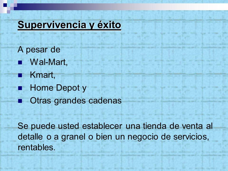 Supervivencia y éxito A pesar de Wal-Mart, Kmart, Home Depot y