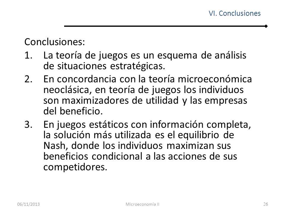 VI. Conclusiones Conclusiones: La teoría de juegos es un esquema de análisis de situaciones estratégicas.