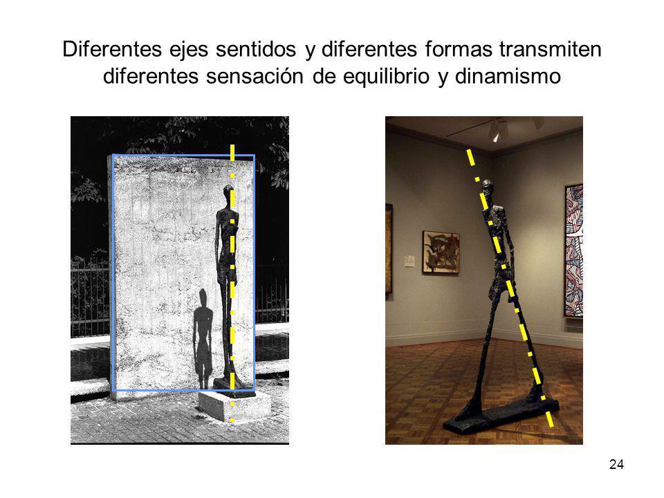 Diferentes ejes sentidos y diferentes formas transmiten diferentes sensación de equilibrio y dinamismo