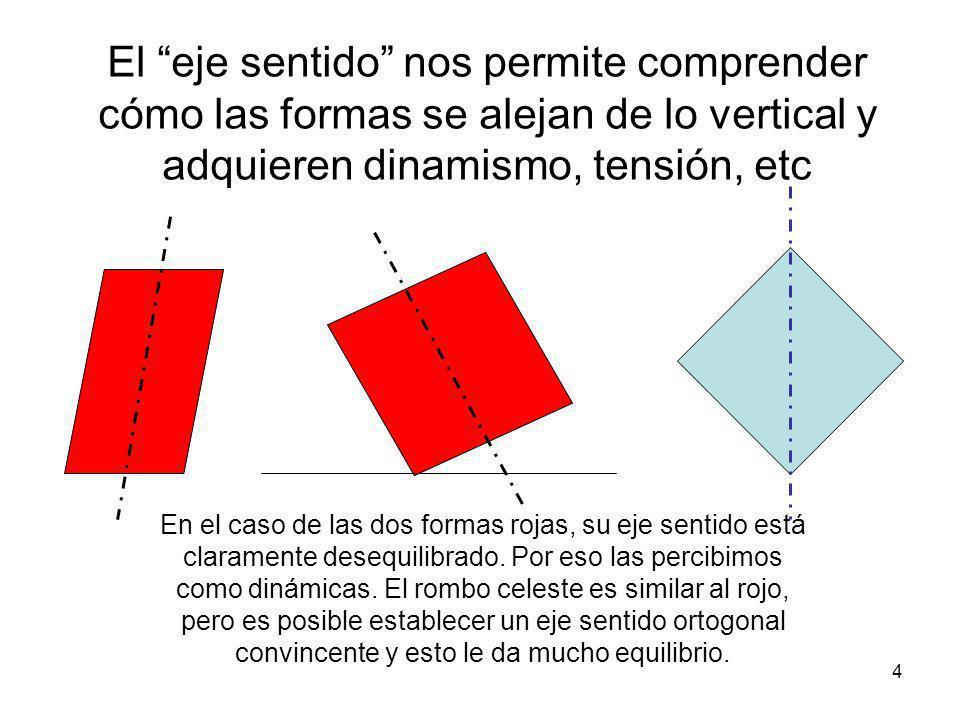 El eje sentido nos permite comprender cómo las formas se alejan de lo vertical y adquieren dinamismo, tensión, etc